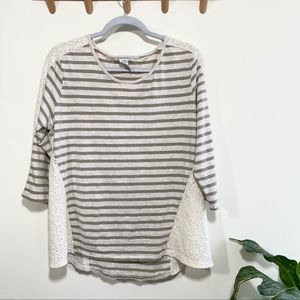 Hannah green striped 3/4 sleeve top lace details
